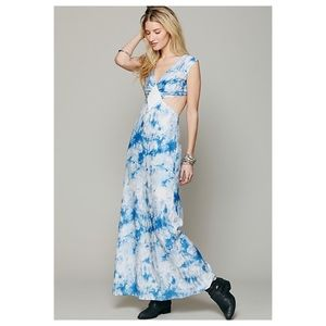 Lindsey Thornburg x Free People Blue Tie Dye Maxi